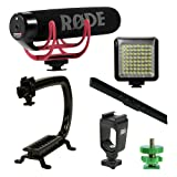 Professional Stabilizing Camera Grip Handle + Rode VideoMic Go On-Camera Microphone + Adjustable LED Panel Light for Canon Nikon Panasonic Sony DSLR Mirrorless Camera