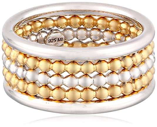 Sterling-Silver-Three-Row-Two-Tone-Rhodium-and-Yellow-Gold-Plated-Ring