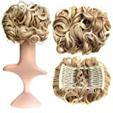SWACC Short Messy Curly Dish Hair Bun Extension Easy Stretch hair Combs Clip in Ponytail Extension Scrunchie Chignon Tray Ponytail Hairpieces (Blonde Mixed-27T613#) (Color: Blonde Mixed-27T613#)