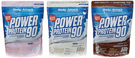 Body Attack Power Protein 90 Beutel 3er Mix Pack (3 x 500 g) Schoko/Vanille/Strawberry White Chocolate, 1er Pack (1 x 1.5 kg)