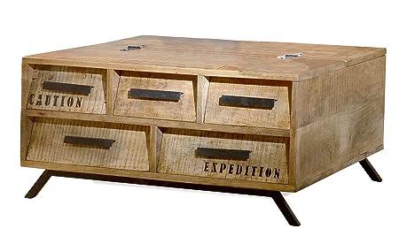 """The Wood Times 15-IN4004 Couchtisch """"Script"""", 5 Schubladen"""