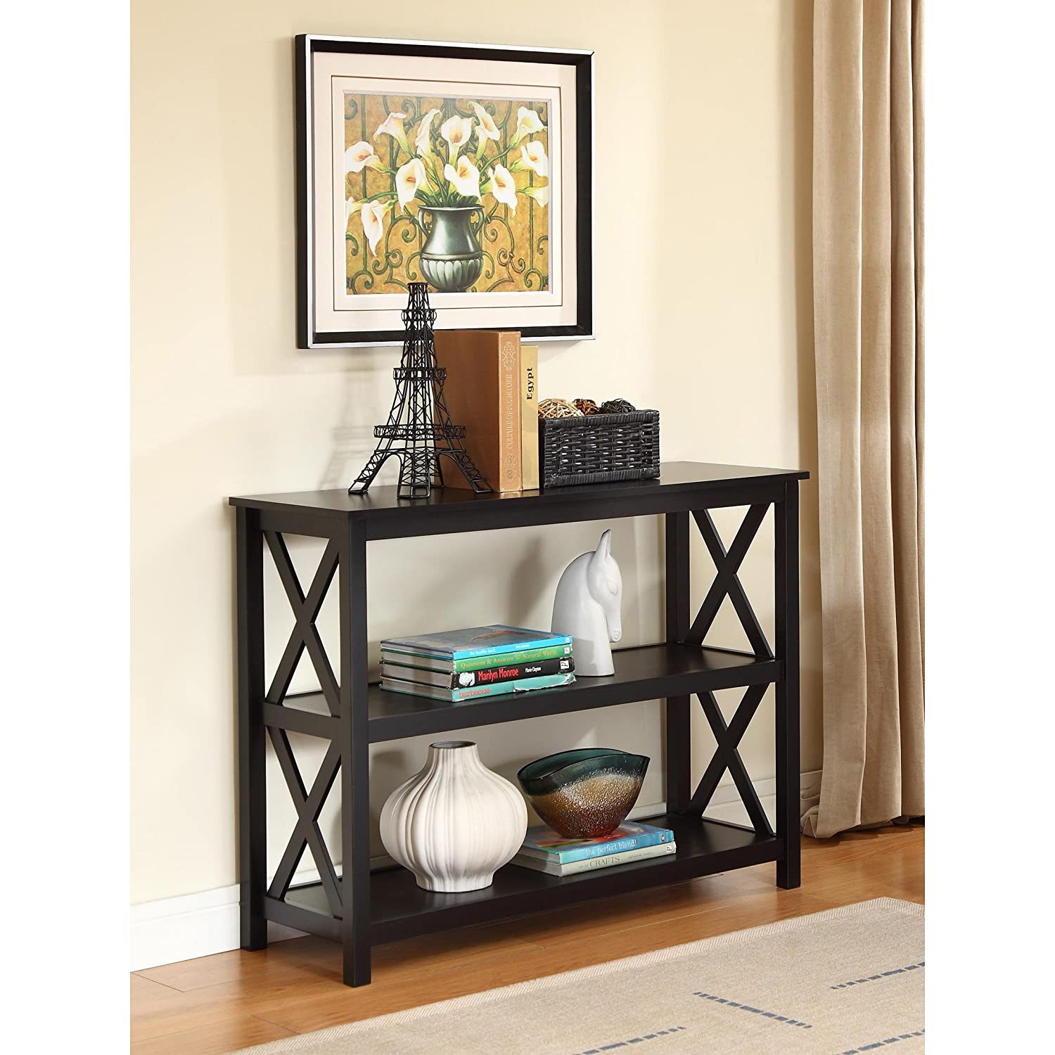 Black Occasional Console Sofa Table Bookshelf CHECK PRICE title=