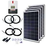 KOMAES 400 Watts 24 Volts Polycrystalline Solar Starter Kit with 40A MPPT Charge Controller, 20ft Tray Cable, 20ft MC4 Connectors, Mounting Z Brackets (Tamaño: 40A MPPT Polycrystalline)