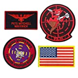 Top Gun Patches United Sates Navy Fighter Weapons School, American Flag, Pete Mitchell Maverick, VX-31 Embroidered Tactical Morale Fastener Hook Loop Patch Applique Badge for Jacket Jean T Shirt Hat