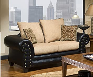 Chelsea Home Furniture Zoie Loveseat, Upholstered in Denver Black/Delray Camel/Tiger Gold/Leopard Gold