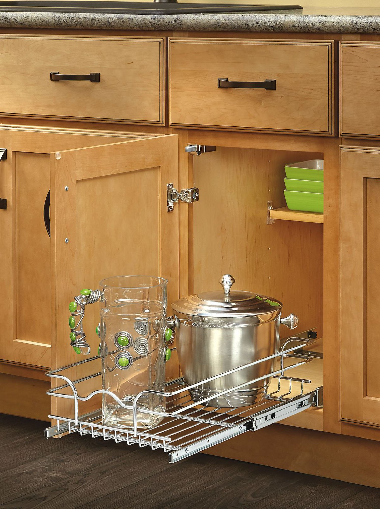 rev a shelf 5wb1 0918 cr 9 in w x 18 in d base cabinet pull out chrome ebay. Black Bedroom Furniture Sets. Home Design Ideas
