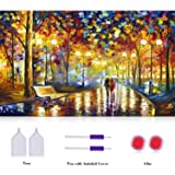 Crafts Graphy 5D Cross-stitch Painting with Diamonds Kit Full Drill - Circular Drill, Love Street, Large Size 16 x 20 Inches  (Color: Multicolor)