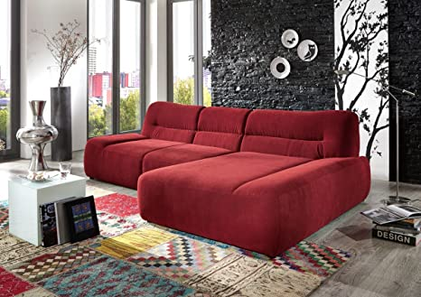 Dreams4Home Polsterecke 'Egira' Ecksofa Couch Sofa Polstersofa Polstergarnitur rot, Aufbauvariante:Longchair/Ottomane rechts