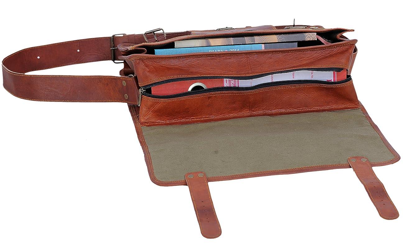 PL 16 Inch Vintage Leather Messenger Bag Briefcase / Fits upto 15.6 Inch Laptop 4