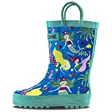 LONECONE Rain Boots with Easy-On Handles in Fun Patterns for Toddlers and Kids, Boot-iful Mermaids, Toddler 9