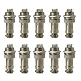 4 Pin Metal Male Female Panel Connector 16mm GX16-4 Silver Aviation Plug of 10 pcs