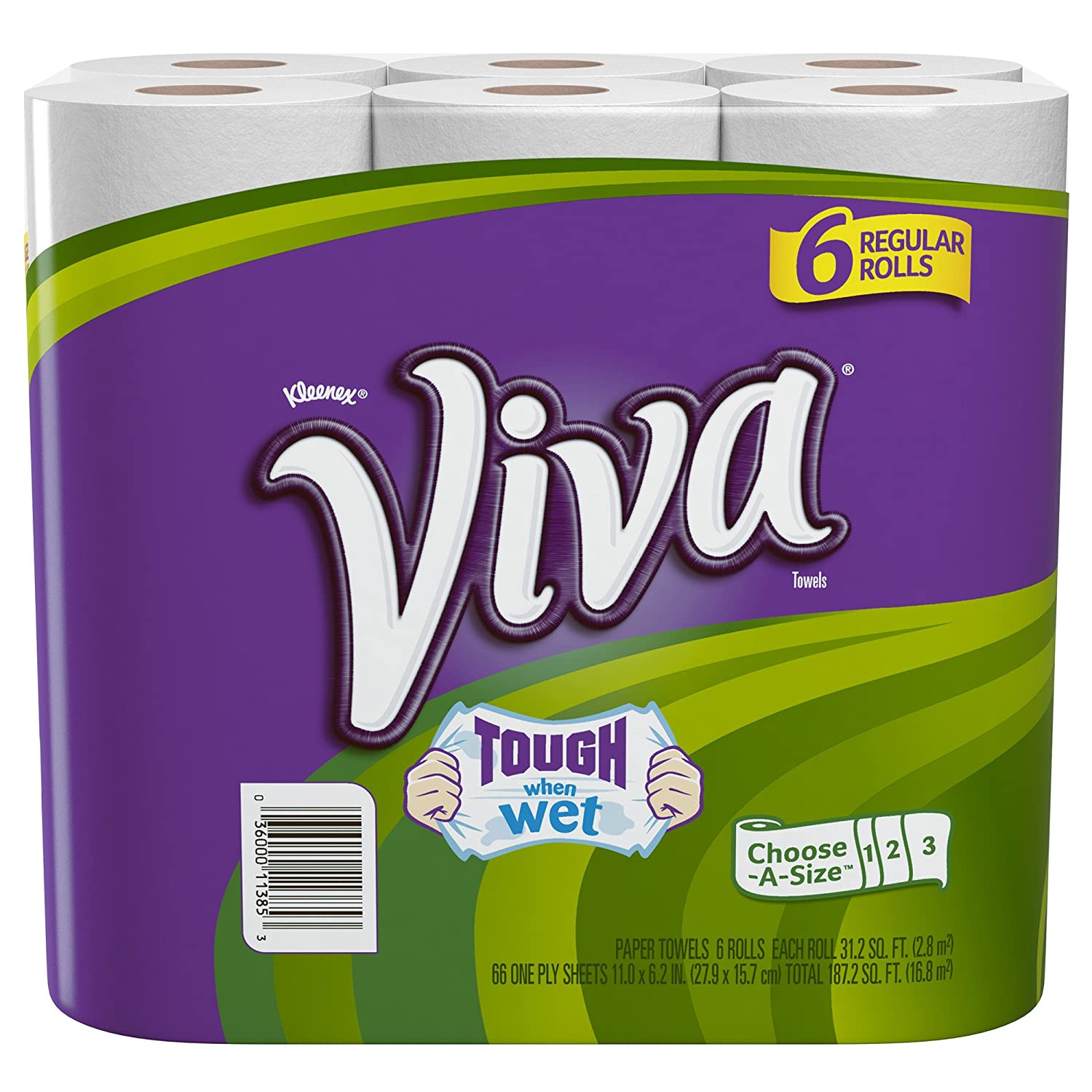 Viva Paper Towels, Choose-A-Size, Regular Roll, 6 Count