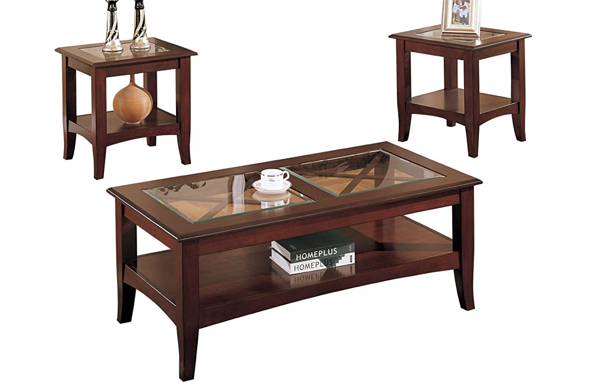 Poundex 3-Piece Coffee Table, Dark Cherry