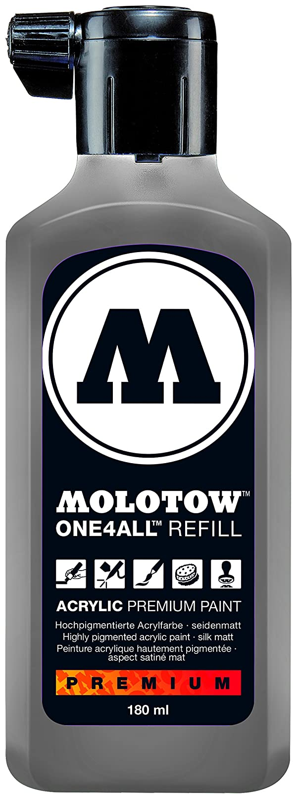 Molotow ONE4ALL Acrylic Paint Refill, For Molotow ONE4ALL Paint Marker, Cool Grey Pastel, 180ml Bottle, 1 Each (692.203) (Color: 203 Cool Grey, Tamaño: Refill - 180ml)