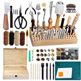 LEITIME 458 Piecs Leather Kits, Leather Working Tools, Leathercraft Tools and Supplies with Instruction, Tool Holder, Leather Stamps Set, Prong Punch, Hole Hollow Punch for Leather Craft Working (Color: Leather Tool Kits)