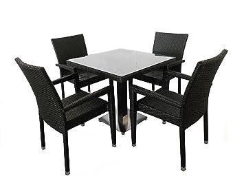 CULTLIVE Gartenstuhl | Rattanmöbel Gartenmöbel, Bistrostuhl, Restaurant Stuhle und Tisch 5er Set LAURA | Farbe: Schwarz
