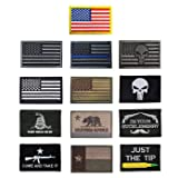 Antrix 13 Pieces Great Value Tactical US Flag Patch America Punisher Morale Patch Full Embroidery Military Patch Set for Caps,Bags,Backpacks,Clothes,Tactical Vest,Military Uniforms Etc. (Color: 13 Pack Military)
