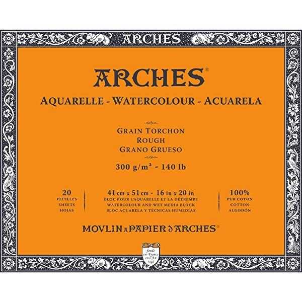 Arches Watercolor Paper Block, Rough, 16 x 20, 140 pound (Tamaño: 16x20)