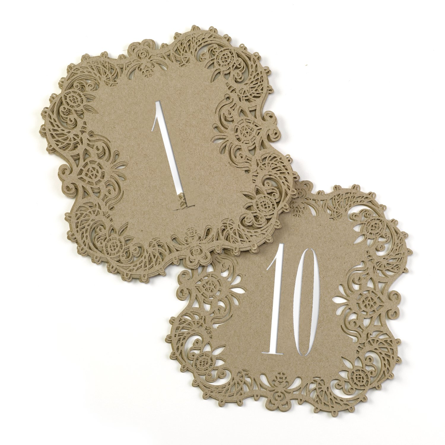 Hortense B. Hewitt 30846 Kraft Laser Cut Table Number Cards, Numbers 1 to 10, Tan