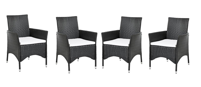 Ambientehome Polyrattan Sessel Stuhl Lubango, schwarz, 4-teiliges Set bestellen