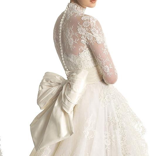 Elle Bridal Best Seller Long Sleeve Back Bow Wedding Dress Bridal Gown