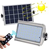 Solar Lights Outdoor, KUFUNG IP65 Waterproof Motion Sensor Flood Light, LED Wireless Security Lights with Remote Control, 800 Lumens LED Solar Lamp for Shed, Yard, Fence, Patio, Gutter, Street (Color: Black)