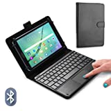 COOPER TOUCHPAD EXECUTIVE Keyboard case for 8'' - 8.9'' inch tablets | 2-in-1 Bluetooth Wireless Keyboard with Touchpad & Leather Folio Cover | Touchpad Mouse, Stand, 100HR Battery, 14 Hotkeys (Black) (Color: Black, Tamaño: 8 - 8.9