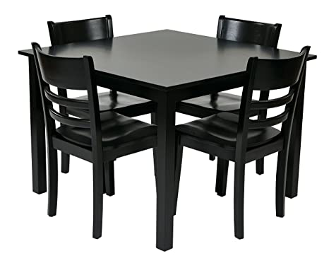 OSP Designs EVR432-BK Everidge 5-Piece Dining Set, Black Finish