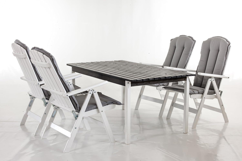 gartenset ssv 9 teiliges set sitzgruppe stranda essgruppe wei taupegrau inkl kissen blau tisch. Black Bedroom Furniture Sets. Home Design Ideas