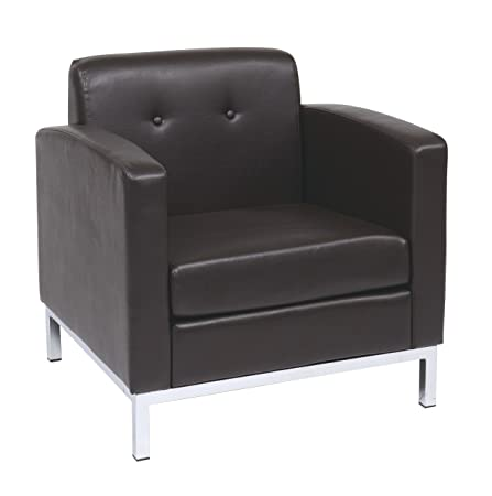 AVE SIX Wall Street Faux Leather Armchair, Espresso