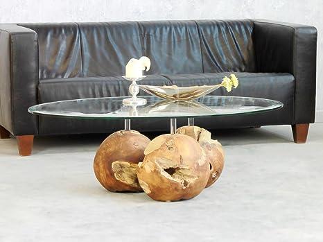 Couchtisch Trio Balls 120x80cm Teak Wurzel Holz