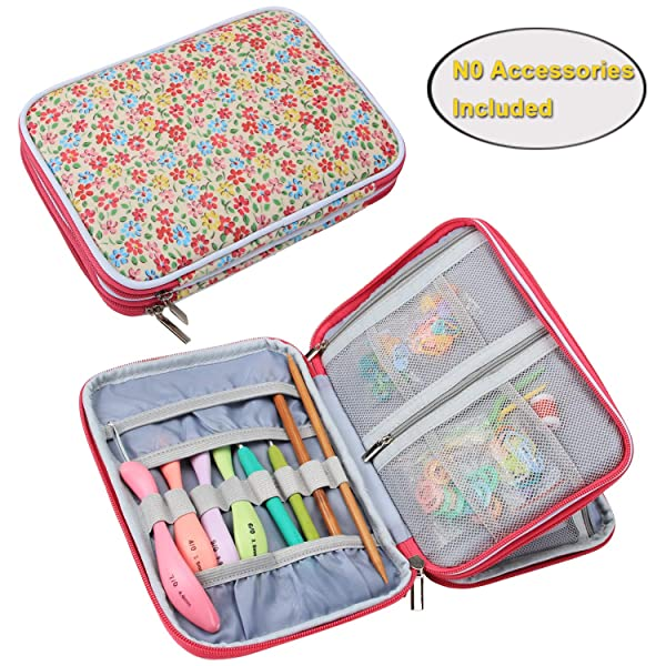 Teamoy Crochet Hook Case, Travel Storage Bag for Swing Crochet Hooks, Lighted Hooks, Needles(Up to 8'') and Accessories, Yellow Flowers(No Accessories Included)