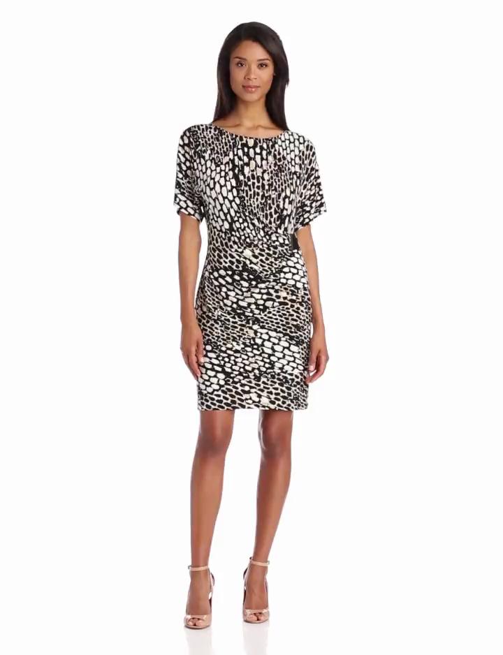 Calvin Klein Women's Printed Side Buckle Dress