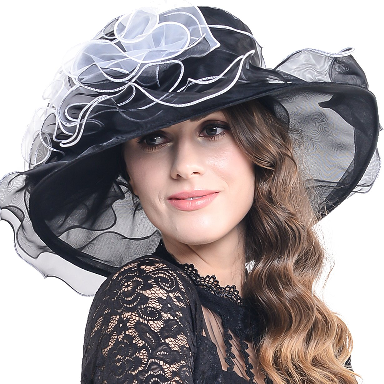 Women Kentucky Derby Church Dress Organza Hat Wide Brim Flat Hat (8 Colours) 0