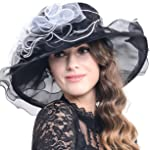 Women Kentucky Derby Church Dress Organza Hat Wide Brim Flat Hat (8 Colours)