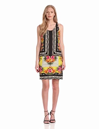 Gabby Skye Women's Print Shift Dress, Black/Gold/Orange, 8 at Amazon