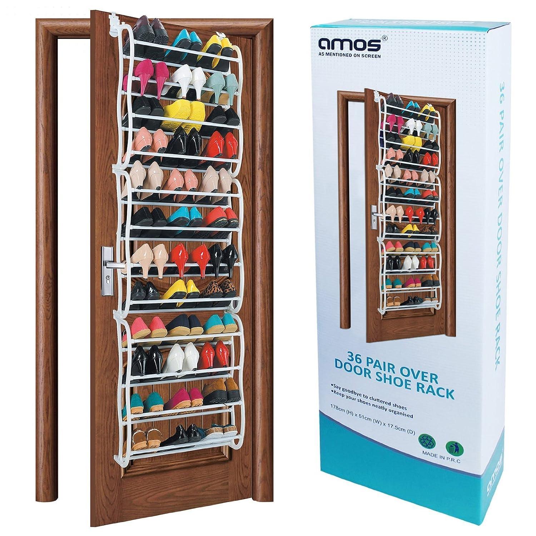 AMOS 36 Pair Over the Door Hanging Hook 12 Tier Shoe Rack Adjustable Shelf Organiser Holder Storage Stand Space Saving