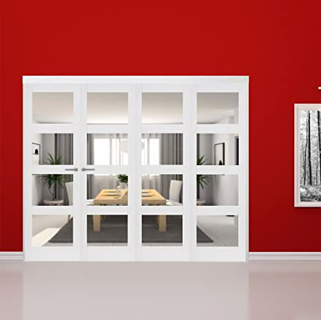 "Green Tree Doors White Primed Shaker 4 Light Clear Internal Door Bifold System (533mm (21"") - 3 Doors)"