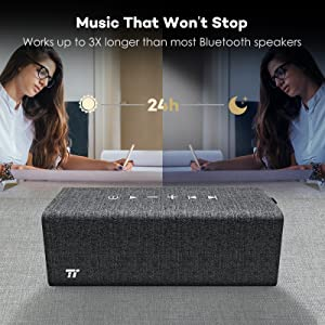 24 Hour Bluetooth Speakers TaoTronics Rock Portable Stereo Wireless Speaker (with Linen and Leather Covering, Bluetooth 4.2, Voice Guidance and Built-in Microphone)
