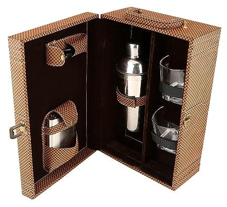 Diseñador pu cuero viaje vino marrón portador caso superior manija caja regalo conjunto
