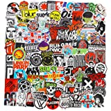Band Stickers Pack Rock Roll Stickers Decals Laptop Cars Guitar Bumper Punk Classic Vinyl Waterproof Graffiti 100pcs (Color: A)