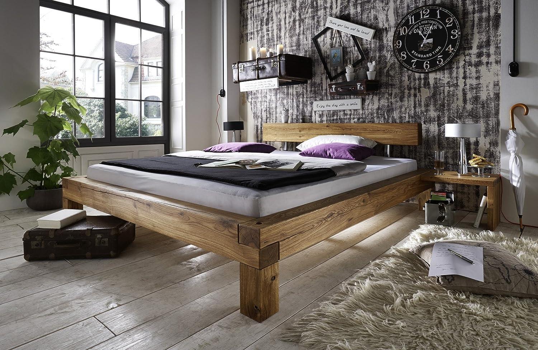 SAM® Balkenbett Ludo 140 x 200 cm massiv Wildeiche mit einer Nachtkommode natürliches Design robust Lieferung per Spedition kaufen