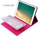 KIWETASO 2015 iPad Pro 12.9 Keyboard + Leather case 12.9 inch Backlit Bluetooth Keyboard Folio Smart Case Stand iPad Pro 12.9 1st Generation(Rose Pink) (Color: Rose Pink, Tamaño: case for 2015 iPad pro 12.9)