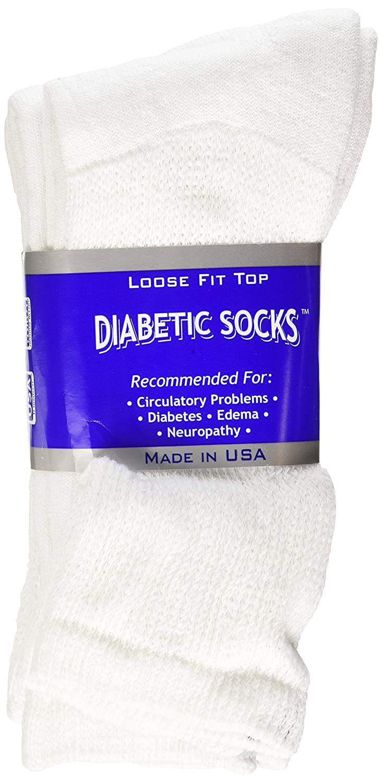 CLOSEOUTS Diabetic CREW Socks MEN XL, sock size 13-15, 1 dozen Pairs, white