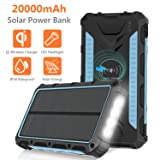Solar Charger 20000mAh, Qi Wireless Portable Solar Power Bank, Rainproof External Backup Battery Pack with 4 Output&Input, LED Flashlight,Carabiner for Smart Phone,Tablets and More-Blue (Color: Blue)