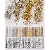 DaLin 8 Boxes Gold Silver Holographic Chunky Glitter Sequins Iridescent Flakes Ultra-thin Tips Colorful Mixed Paillette Festival Beauty Makeup Face Body Hair Nails Cosmetic Glitter (Color 4) (Color: Color 4)