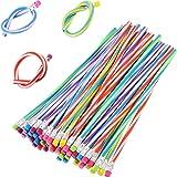 TecUnite 60 Pieces Flexible Bendy Soft Pencils Colorful Stripe Pencil with Eraser