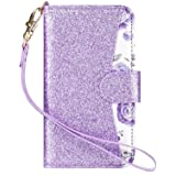 ULAK iPod Touch 7 Case, iPod Touch 6 & 5 Case, Flip PU Leather Wallet Stand Case Credit Card Holder Slots Shockproof Cover for Apple iPod Touch 5 / 6th / 7th Generation, Purple (Color: Bling + Purple Floral)