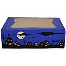 "Southern Champion Tray 2470 Paperboard Halloween Design Print Window Bakery Box, 8"" Length x 5-3/4"" Width x 2-1/2"" Height (Case of 200)"