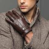 Men's Warm Lambskin Genuine Leather Gloves For Men Winter Driving Brown S (Color: Brown, Tamaño: Small)
